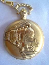 Relogio de Bolso Locomotiva Trem metrô antigo colecionador oferta