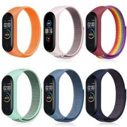 Novas cores, Pulseiras de Nylon esportiva para Xiaomi Miband 3, 4 , 5 e 6.
