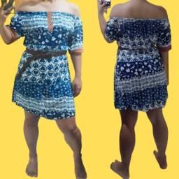 Título do anúncio: Vestido curto azul estampado