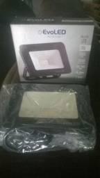 Refletor Holofote led 20w 3000k smd 120 bivolt quadrado preto le-3710 - Evoled