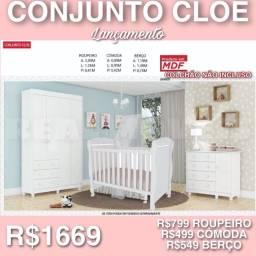 Conjunto Cloe- quarto completo de neném com cômoda berço e guarda roupa