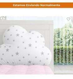 kit BERÇO Grão de Gente Novo Quarto de Bebê Nuvem de Algodão Rosa 17 Peça - R$ 500,00