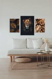 Kit de composição Leão ouro quadros em MDF decorativo para sala e quarto