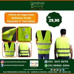 Colete de Segurança Refletivo Verde Tamanho G  Sem Bolso