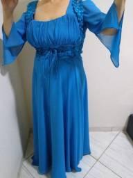 Vestido de festa azul estilo medieval