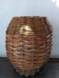 Cesto em cipó e bambu 54x40cm