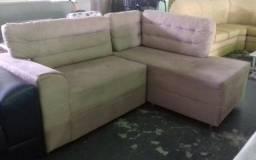 Sofá canto/chaise na cor bege de sued por apenas 599,00