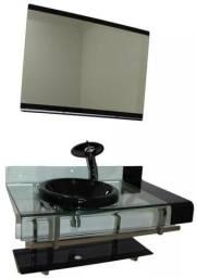 Gabinete Vidro 70cm C/ 1 cuba 1 válvula Click 1 sifão Cor Preto