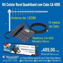 Telefone Rural aquarios e antena com Cabo de 15 metros CA-4000