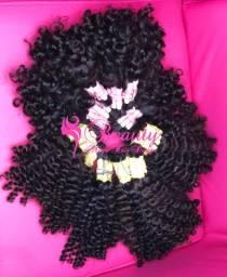 Cabelo cacheado cacheadinho mega hair indiano 25/35cm