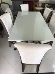 Imperdível- mesa madeira com tampo de vidro laqueado +6 cadeiras