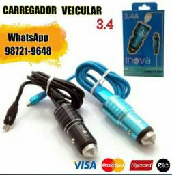 Carregador para carro celular 3.4 com 2 USB PROMOÇÃO