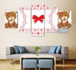 Quadro Personalizado Decorativo Mosaico 5 Peças- Quarto Menina