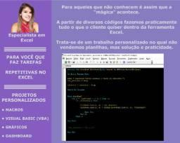 Soluções em Excel. Projetos com VBA, Macros, Dash, Gráficos!