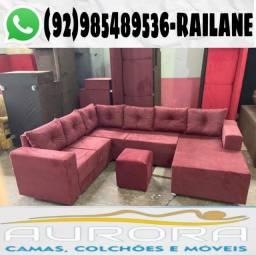 Título do anúncio: Sofás grandes | conjunto chaise | novos 8:
