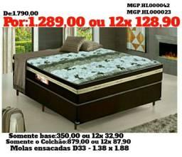 Título do anúncio: Conjunto Box Mola Ensacada Casal D33 1,38- Cama Casal-Colchões+Base-Saldão MS