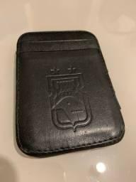 Carteira Paraná Clube porta-cartão preta em couro