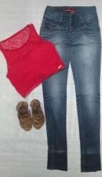 Título do anúncio: Calça jeans Patogê (36) e Toper rosa de renda (P)