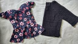 Kit blusa ciganinha + cropped renda