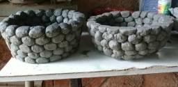 Vasos de cimento e tecido