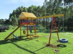 Parquinho Playground Em Madeira C/ 15 Brinquedos