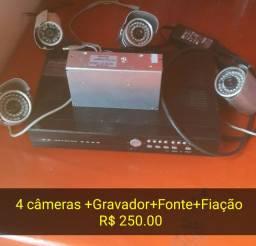 4 cameras+DVR+Fonte+Fiação