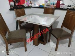Conjunto mesa de jantar com 4 cadeiras promoção montagem grátis