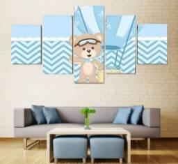 Quadro Decorativo Personalizado Mosaico 5 Peças- Quarto