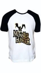 Monster Hunter Game Jogo Rpg Camiseta Raglan Camisa Blusa
