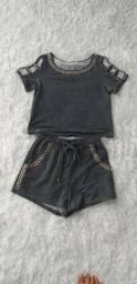 Título do anúncio: Conjunto de short e blusa cinza