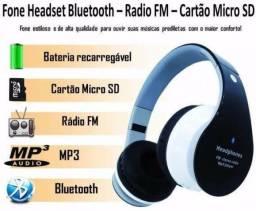 Headphone bluetooth cartão sd completo