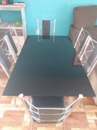 Mesa de vidro temperado 6 cadeiras
