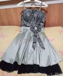 """Lindo vestido de festa, grafite com renda preta, usado uma """"única vez!"""""""