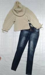 Título do anúncio: Blusa Tricô (M) e Calça Jeans Via Sete (40)
