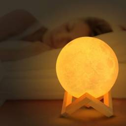 Luminária Lua Cheia 3D Abajur Decoração Rgb Led