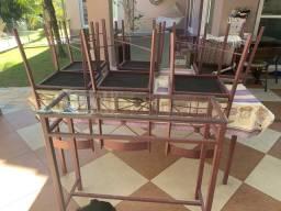 Conjunto mesa, 6 cadeiras e aparador