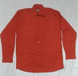 Título do anúncio: Camisa social laranja algodão - Marca Report - Tam M