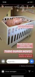 Berço com colchão + capa + Duas bolsas maternidade (feminina) USADO POUCAS VEZES