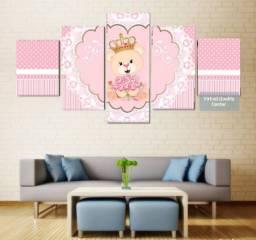 Quadro Decorativo Personalizado Mosaico 5 Peças- Menina