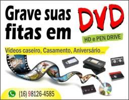 Conversão e gravação de fitas em DVD, HD e Pen Drive