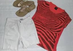 Título do anúncio: Blusa manga curta (P) e Bermuda jeans branca (42)
