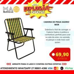 Cadeira de Praia Xadrez Mor em  Aço Carbono