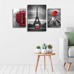 Kit de composição ilustração paris quadros em MDF decorativo para sala e quarto