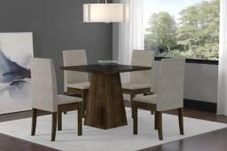 mesa de jantar com 4 cadeiras cristal