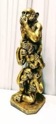 Estátua Macacos Cego, Mudo, Surdo Enfeite Decorativo Resina