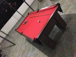 Mesa Residencial Cor Imbuia Tecido Vermelha Mod. PBNM4558