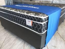 Cama box + colchão luxo sonata Black casal padrão com molas