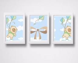 Quadro Decorativo Personalizado Mosaico 3 Peças- Bebê