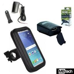 Kit Motoboy Capa Suporte Celular 5.5 Gps Tomada Usb Moto