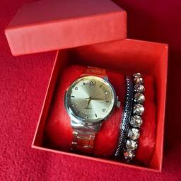 Kit relógio feminino com pulseira